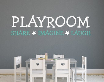 Playroom Wall Decal   Share, Imagine And Laugh Quote Wall Decal   Kids Wall  Decal
