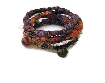 Bohemian Fiber Wrapped Wire Bangle Bracelets Hippie Gypsy Jewelry Fabric Hippie Bracelet