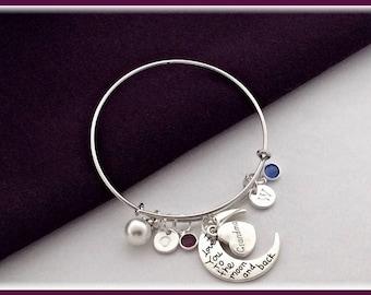 Grandma bracelet, grandmother bracelet, charm bracelet, grandma gifts, personallized bangle, birthstone bracelet, family bangle bracelet