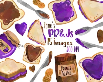 Watercolor Peanut Butter and Jelly Clipart - PB&J Download - Instant Download - Sandwich - Grape Jelly - Peanut Butter - Lunch