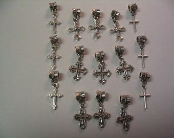 15 Cross Charms with Bail Jewelry Supplies