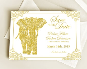 Henna Elephant Save the Date or Wedding Announcement or Invitation Design, Indian Inspired Gold Invite with Mehndi Elephant