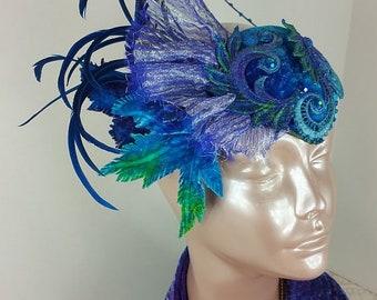 Blue Maple Leaf Fascinator Hat//Blue Fascinator//Fascinator//Fascinator BLue//Mini Hat//Wedding Fascinator//Derby Fascinator//Tea Party