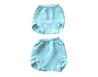 VINTAGE 70's / for babys / set of 2 panties / blue and pink terrycloth / new old stock  / size 6 months