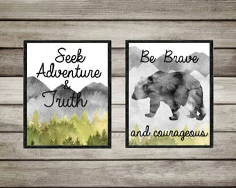 Nursery decor,Wildlife,Seek Adventure,find truth,be brave,Courage,neutral,nursery decor,boy,gift,mountain,trees,Watercolor,art,digital Print