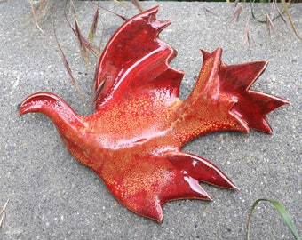 Red bird. Fenix . Ceramic bird. Wall hanging sculpture .