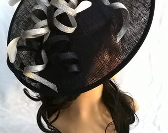 Black with silver  Feather Fascinator..Stunning Sinamay Fascinator on a Headband..