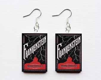 Frankenstein mini book earrings