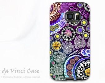 Paisley Floral Case for Samsung Galaxy S7 - Premium Dual Layer Galaxy S 7 Case with Indian Paisley Art - Mehndi Garden - by Da Vinci Case