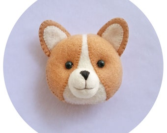 Corgi Puppy Felt brooch, Kawaii Corgi Dog Handmade Pin, Cute Corgi Pup Felt Brooch for Dog Lovers