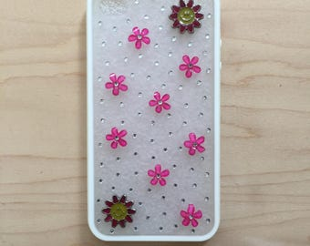 iPhone 4, 4s TPU + PC case. Unique Handmade. Silver rhinestones. Pink crystal charms Pink and yellow flower charms. White border, matte face