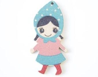 Charm / pendant girl wooden 40mmx20mm
