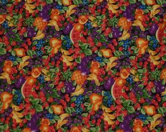 "Mixed Fruit Joan Messmore Cranston Fabrics Multi-colored Vintage Cotton 1980's 33"" x 44"""