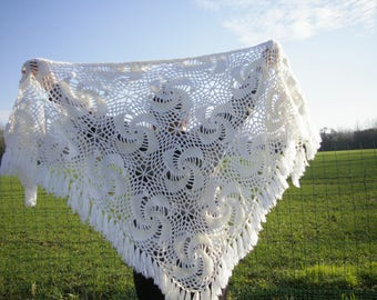 Hand crocheted white shawl