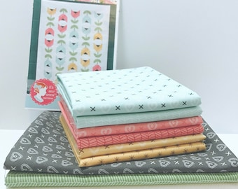 """Dutch Tulips Quilt Kit by Kimberly Jolly of It's Sew Emma for Moda- ISE 170G Finished Size 48.5"""" x 64.5"""""""