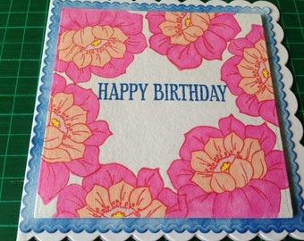 Pink Peach Flower Happy Birthday Card with Blue Border