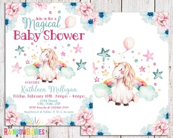Rainbow Unicorn Baby Shower Invitation, Rainbow Unicorn Invitation, Rainbow Baby Shower, Rainbow Unicorn Baby Shower Invite, Unicorn Rainbow