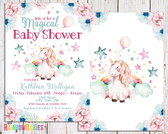 Magical Rainbow Unicorn Baby Shower Invitation