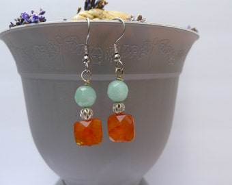 Amazonite SIlver and Carnelion Drop-Irish Gals!-Bess Earrings