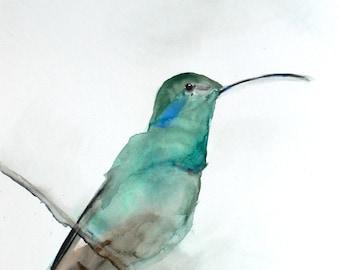 Watercolor Painting - Bird Art Watercolor - August - Hummingbird Painting - Large Print 24x30 - Poster