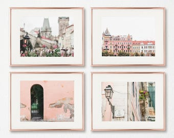 Art Prints Set // Prague Pink Wall Art // Set of 4 // Art Decor // Fine Art Photography // Living Room Wall Art // Blush Prints // Portugal