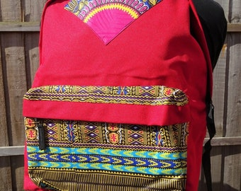 African inspired dashiki backpack (red)