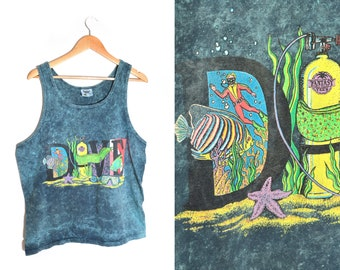 90s Diving Tank Top XL Tie Dye Neon Graphics Tropical Coral Reef Goggles Vacation Beach