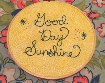 HANDMADE Beatles Good Day Sunshine Music Lyrics Embroidered Yellow Hoop Wall Art