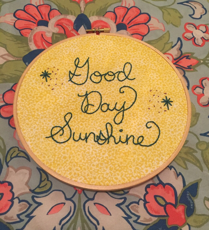 HANDMADE Beatles Good Day Sunshine Music Lyrics Embroidered