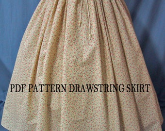 Sewing Instructions for Ladies Costume Drawstring Waist Long Skirt - PDF Download Pattern - DIY - Sew Your Own Skirt - Reenactment Costume
