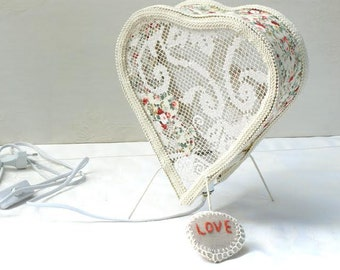 Heart Lampshade, Vintage Lampshade, Vtg, Lampshade, Vintage Room Decor, Vintage lace Crochet, Lovers Lamp, Bedroom Light Decor, Light Decor.