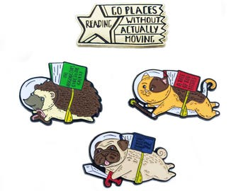 Lazy Readers Club Enamel Pin Set
