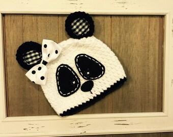 Panda crochet hat, photo prop