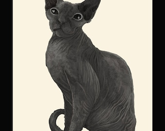 Luxury cat  - Archive quality giclee print from pencil drawing - Limited edition of 25, signed by artist