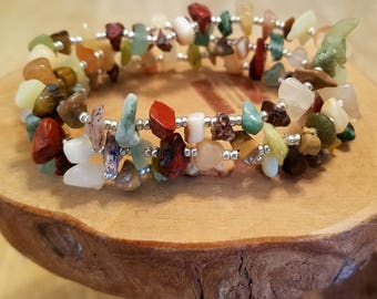 Arboreal natural gemstone chip stretch bracelets set of three available in FOUR different sizes!
