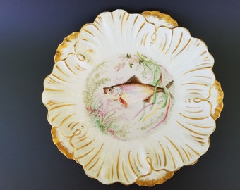 Rare Laviolette, Limoge France ~ William Lycette, Atlanta Georgia ~ Hand Painted Fish Plate ~ 1896-1905