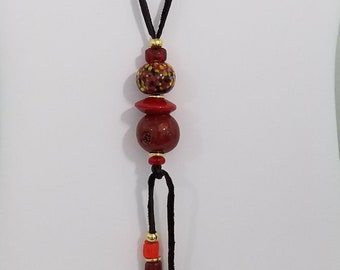 Vintage Red Ceramic and Glass Bead Leather Thong Necklace