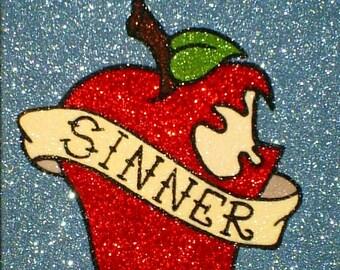 Snow White Poison Apple Glitter Painting • Old School Tattoo Flash Art •  Fairy Tale Art