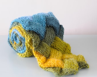 Blue Entrelac Scarf - Green Yellow Knitted Diagonal Basketweave Chunky Multicoloured Acrylic Wool Winter Unisex Gift by Emma Dickie Design