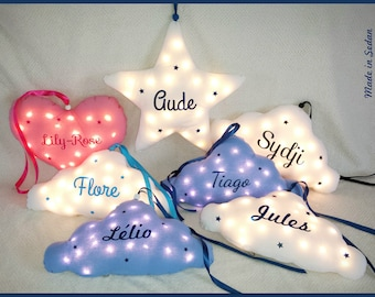 Pilot cloud stars customized with name children baby room decoration