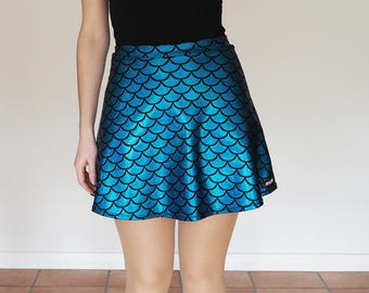 Turquoise Blue Mermaid Fish Scale Skater Skirt