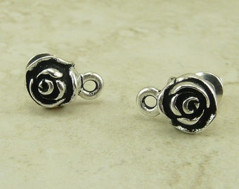 1 Pair TierraCast Rose Flower Beadable Earring Posts > Silver Plated Lead Free Pewter - I ship Internationally 1074