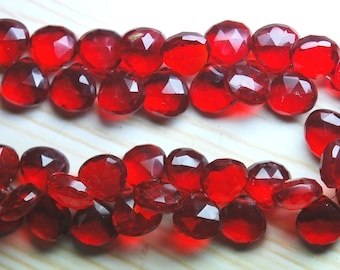 4 Inch Strand,RUBY RED Quartz Micro Faceted Heart Shape Briolette,10-11mm