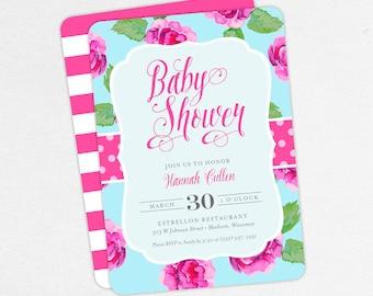 Watercolor Flowers Baby Shower Invitation, Girl Baby Shower, Printable Invitation, PDF, Roses, Floral, Peonies, Turquoise, Pink, DIY, Hannah