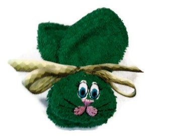 Baby Bunny Boo-boo Bunny Ice Pack Embroidered Green Rabbit for Shower or Basket