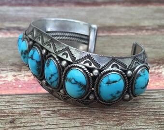 Navajo Row Bracelet - Candelaria Turquoise - 70s Large Cuff