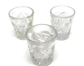 Pressed Glass Shot Glasses, Set of Three, Toothpick Holders, Childs Cups,c1930