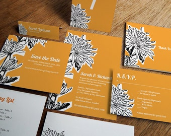 Printable Wedding Invitation Kit - Dahlia - Instant Download Wedding Printables - Print at Home Invitations and Wedding Stationery - PDF