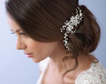 Swarovski Crystal Hair Comb, Wedding Hair Comb, Bridal Hair Comb, Freshwater Pearl Hair Comb, Floral Hair Comb, Bridal Headpiece ~TC-2051