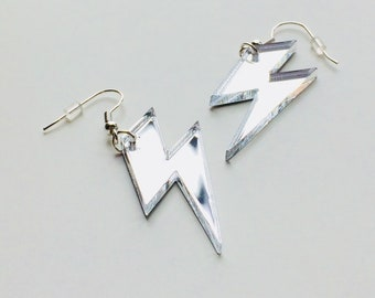 Lightning | Bowie | Lady Gaga | Bolt | Weather | 80s | Laser Cut | Acrylic | Earrings